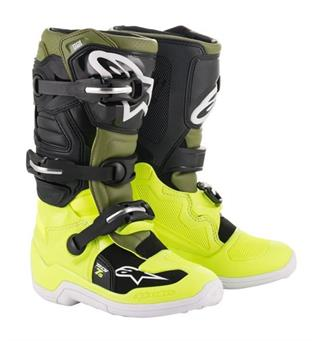Alpinestars Tech 7S Junior Fluo Gul/Militärgrön